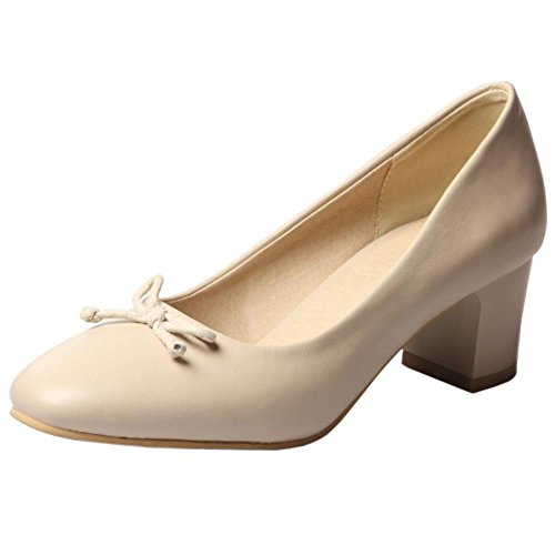 COOLCEPT Damen Blockabsatz Mid Heels Sweet Pumps for Ladies mit Bogen Beige