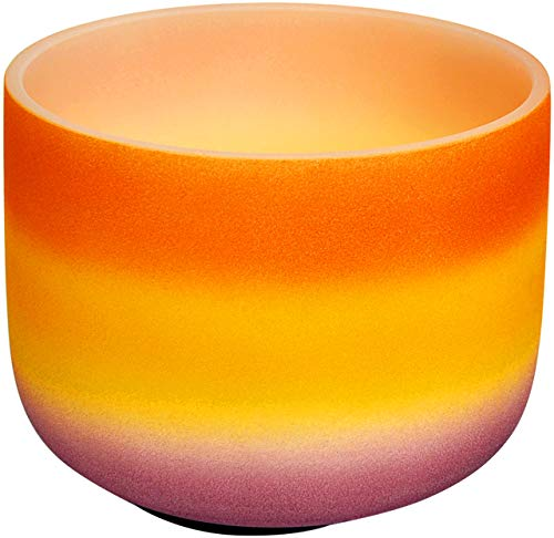 Fashion Rainbow Orange Frosted Crystal Klangschale Note D Sakralchakra Yoga Enthusiasten & Sound Heiler Werkzeuge Klangschalen-Set mit Klammer und Gummifuß (20,3 cm) Bowl In Crystal