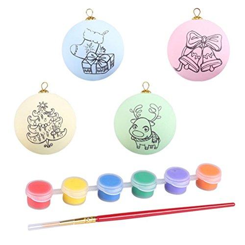 Toymytoy uova di pasqua dipinte a mano, 4 pezzi, uova di pasqua fai da te da appendere per bambini, uovo di pasqua in plastica