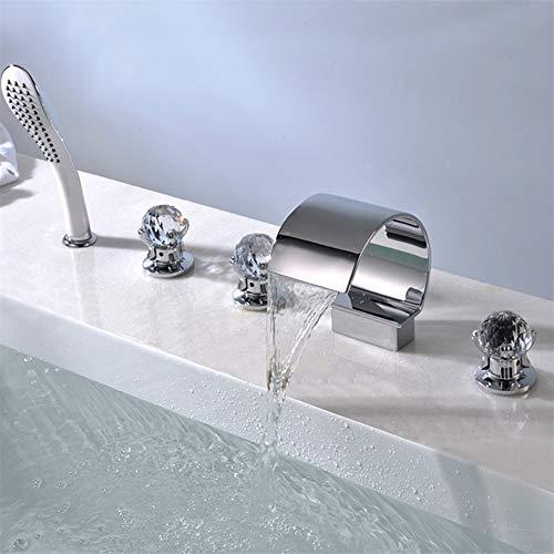 Moen Deck Mount (JIANGYE Deck Mount DREI Kristall Handles fünf Loch Waterfall Contemporary Commercial Bathroom Sink Faucet Lead kostenlos Chrome Finish Shower Head Handheld fünf Stück)