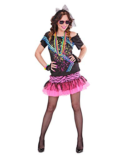 80er Popstar Kostüm Girl Jahre - Horror-Shop 80er Jahre Material Girl Popstar Kostüm S