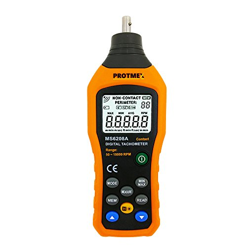 Protmex Digital Tachometer, MS6208A Contact Measurement Speed Tach Meter 50-19999RPM Speed Meter Contact Tach RPM Meter With 100 Groups Data Logging, Data Hold, Max/Min/AVG, Backlight
