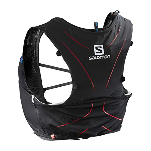 Salomon ADV Skin 5 Set Mochila Ligera de hidratación para Corriendo/Senderismo, Capacidad 5 L, Unisex Adulto, Negro/Rojo, M/L