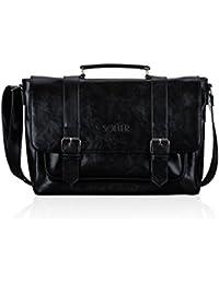 Solier hommes en cuir sac de voyage sac à bandoulière week-end sac de sport haut de gamme GOVAN S18 (Noir)
