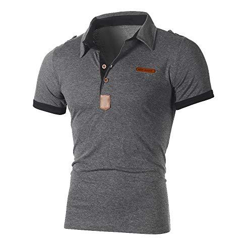 KIMODO Herren Beiläufige dünne Hemd Buchstabe Kurzarm T-Shirt Spitzenbluse der Art persönlichkeits Top Freizeit Shirt für Männer -