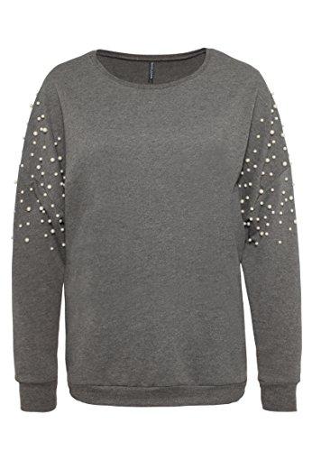 ROCK ANGEL Damen Perlen Sweatshirt SUE   Eleganter Oversize Sweat-Pullover in Grau & Rosé middle-grey M