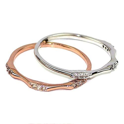 Beiswin Goldene Farbe überzogener Ring einfaches Design Strass Hochzeit Memorial Day Ring für Männer Frauen Geschenk Zubehör (8#)