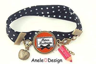 Bracelet liberty Cadeau Maîtresse - Merci Maîtresse! - rouge noir pomme crayon École original tendance romantique idée cadeau fin d'année