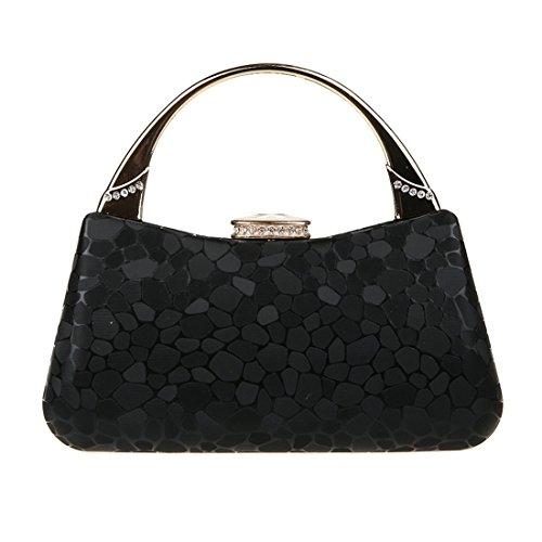 KAXIDY Damen Tasche Clutch Handtasche Abendtasche Brauttasche Tasche für Party Hochzeit Außen (Schwarz) Schwarz