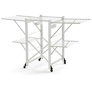 Arredamenti Italia  Wäscheständer GABBIANO, Holz - Zusammenklappbar - Ausziehbar - 30 mt Leine - Farbe: Weiß