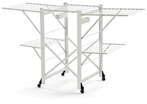 ARREDAMENTI ITALIA Wäscheständer GABBIANO, Holz - Zusammenklappbar - Ausziehbar - 30 mt Leine - Farbe: Weiß AR-It il Cuore del...