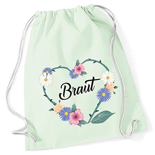 Shirt-Panda Turnbeutel JGA Braut/Team-Braut Blumenherz Junggesellinnenabschied Tasche Rucksack - Pastell Mint - Braut - Rucksack Handtasche Mint