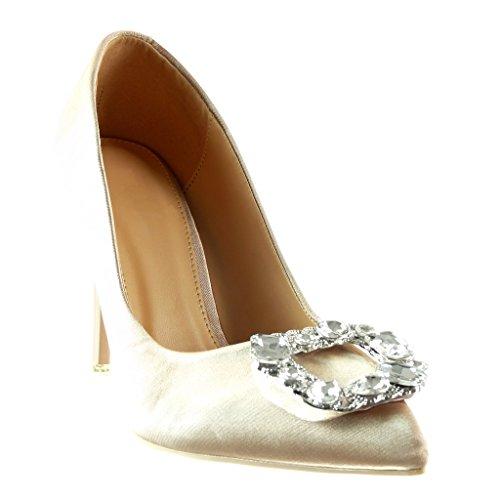 Angkorly - Scarpe da Moda scarpe decollete stiletto decollete donna gioielli Tacco Stiletto tacco alto 10 CM Champagne