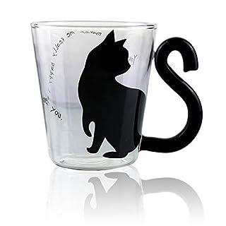 Kaffeetasse aus Glas mit großem Griff, mikrowellen- und spülmaschinenfest, Geburtstags- und Weihnachtsgeschenk, 284 ml Love You