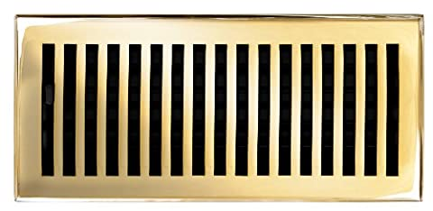 Brass Elegans 116D PLB Solid Cast Brass Contemporary 4-Inch by 10-Inch Floor Register, Polished Brass Finish
