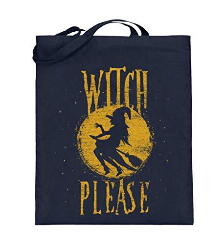 Shirtee Witch Please - Hexe Bitte - Hexen Halloween Kostüm 31. Oktober Geisterstunde Horror Nacht - Jutebeutel (mit langen Henkeln) -38cm-42cm-Deep Blue