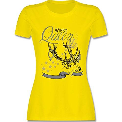 Oktoberfest Damen - Wiesn Queen - tailliertes Premium T-Shirt mit Rundhalsausschnitt für Damen Lemon Gelb