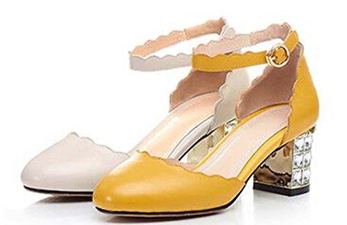 Beauqueen Pompes Doux Dentelle Casual Chaussures de fête Été Filles Femmes Chaussures peu profondes Courroies de cheville Low Heel Simple Europe Taille 34-39 Yellow