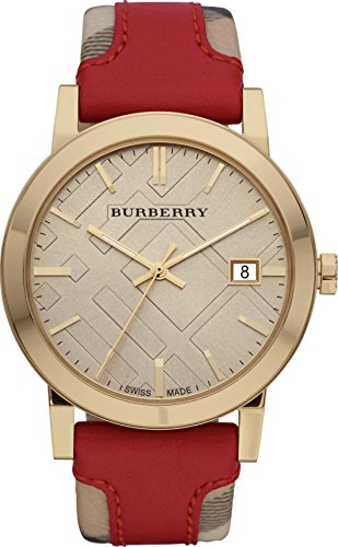 Burberry Luxury Swiss Gold orologio unisex donna uomo The City Collection Authentic a quadretti rosso cuoio beige data quadrante BU9017