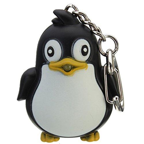 Profusion circle, Pinguin Schlüsselanhänger mit LED Taschenlampe und Sound, Ideal als Geschenk, schwarz