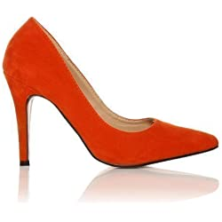 ShuWish UK - Damen Pumps Darcy Kunst Wildleder Stöckelschuhe Spitz - Orange Wildleder, Synthetik, 5 UK / 38 EU
