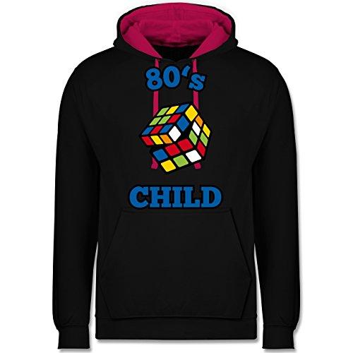 Statement Shirts - 80's Child - Zauberwürfel - Kontrast Hoodie Schwarz/Fuchsia