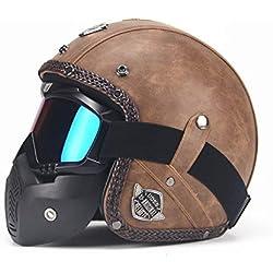 BBX Moto Cascos Retro Hechos A Mano Personalidad Retro Harley Casco Moto Coche 3/4 Cuero Casco Medio Casco Hombres Y Mujeres Temporadas,Brown2,L