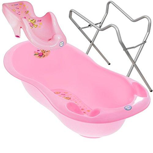 BABY BADESET Babybadewanne + Badesitz + Ständer (Rosa)