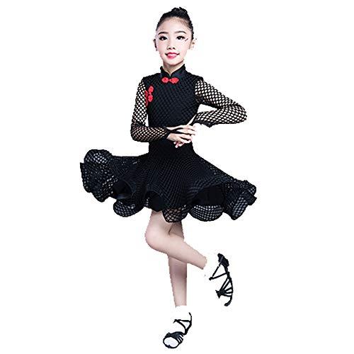 YONGMEI Tanzkostüm - Kinder Latin Dance Kostüm Professional Wettbewerb Kleid Mädchen Performing Performance Show Tanzkleid (Farbe : SCHWARZ, größe : ()