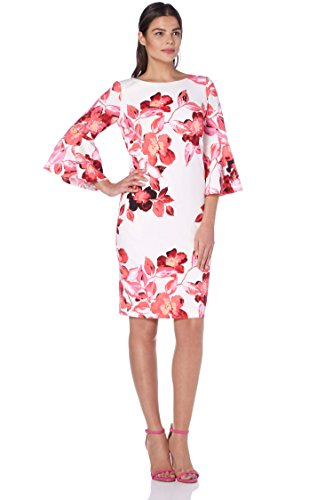 Roman Originals Damen Kleid mit Rüschenärmeln und Blumenmuster aus Scuba-Stoff in Pink Größe...