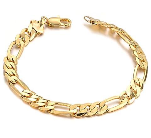 AMDXD Bijoux Bracelet Hommes Plaqué Or Chaîne Gourmette Lien Charme Bracelets en Or 21CM