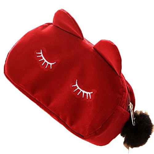 doitsa pequeña–Bolso–Bolsa de aseo Mujer Niña bolsas de maquillaje peluche gato Mignon–Estuche para bolígrafo y bolsa de equipaje Loisirs Pochette–Bolsa cosmética Monedero, rojo intenso, 23*5.5*11cm