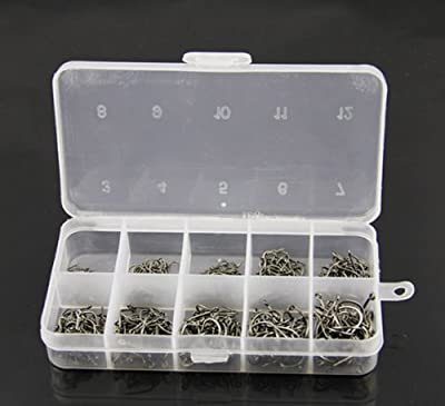 Doyeemei 600 Pcs Mixed Sizes 3#-12# Black Silver Fishing Hooks Plastic Box from Doyeemei