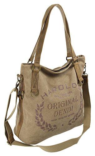 Damen Umhängetasche aus Canvas und Leder - Große Vintage Schultertasche in Shopper-Form für Frauen (Natur) -