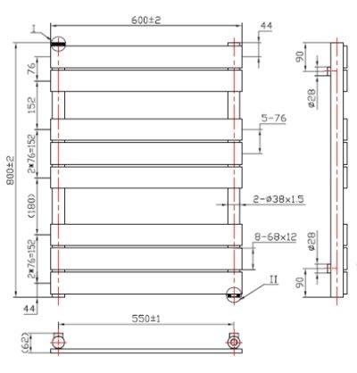 Vicenza Designer Flat Chrome Heated Bathroom Towel Rail Radiator 800 x 600 mm