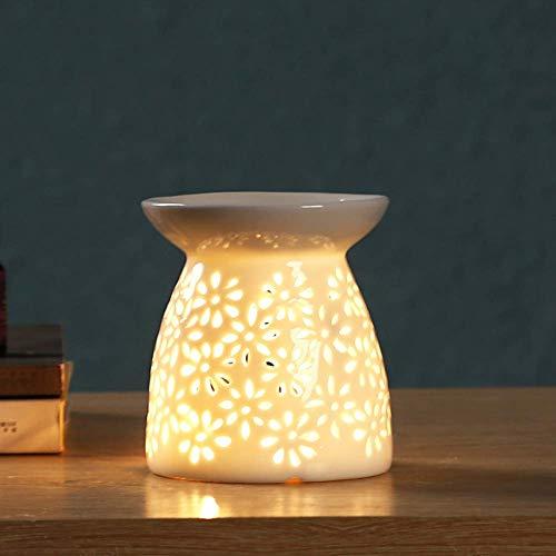 LEH Keramik Duftlampe Aromalampe Duftlampe aus Keramik mit der Candle Kerzenlöffel weiß