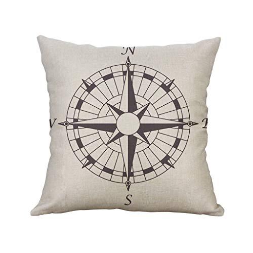 Sanahy Kissenbezug Flachs Kreativ Navigation Kompass Segelboot Quadrat Polster Lendenkissen Kissen Ohne Kissenkern 45X45CM -