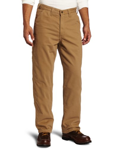 Carhartt Flanell Gefüttert Jeans (Carhartt Herren Latzhose aus gewaschenem Twill Flanell gefüttert Gr. 42 W/30 L, Dunkles kaki)
