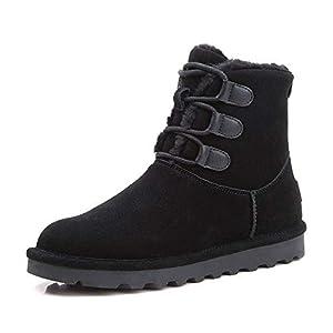 BYUYAN Stiefel Pu-Snow Boots weibliche Stiefel Plus Baumwolle Schuhe Frauen Schuhe Herbst Winter Halteband Martin Stiefel Schuhe aus Baumwolle