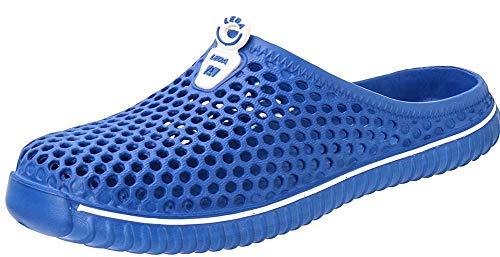 Saldgoiz Damen Herren Clogs Pantoletten Eva Badeschuhe Gartenschuhe Flach Hausschuhe Strand Sandale Sommer Sandalen Schuhe Blau 41 EU = 42 CN