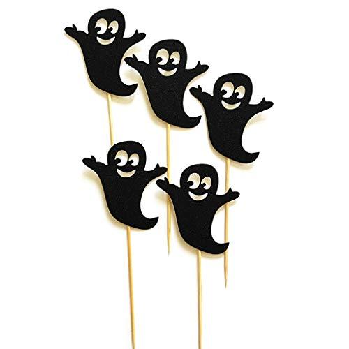 e Toppers Halloween Spooky Geist Kuchen Papier Topper Für Party Geburtstag Liefert Baby Dusche DIY Dekor Schwarz ()