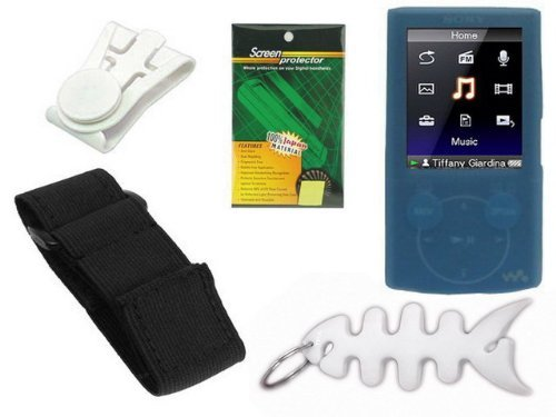 Blue Durable Flexible Soft Silicone Skin Case + Premium Reusable LCD Screen Protector + Elastic Armband + Belt Clip + Fishbone Style Keychain for Sony Walkman NWZ-E344 / E345 Series Mp3 Player by TPA  available at amazon for Rs.1949
