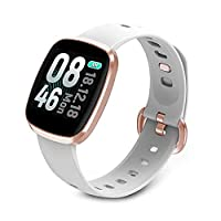 FEFEFEF Smart Watch,Color full Screen Touch Smartwatch Fitness Watch Wrist Fitness Tracker IP67 Waterproof with Heart Rate Monitor Pedometer,White