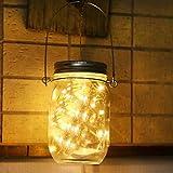 Solar Mason Jar Leuchten,Jar Fee Licht,Wasserdichte Glasgläser Garten Hängeleuchten,LED String Licht für Party, Weihnachtsferien, Hochzeitsdekoration(Warmweiß,Farbe,Weiß) (YE)