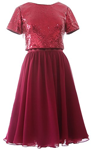 MACloth Cap Sleeves Two Piece Short Bridesmaid Dress Sequin Chiffon Formal Gown Wine Red