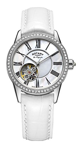 Rotary Womens Skeleton Automatic Watch with Leather Strap LS90510/41/L3S