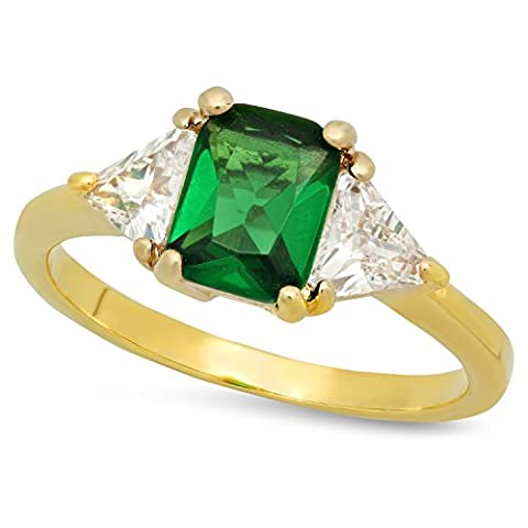 Gold Plated Emerald-Cut Forest Green CZ Three-Stone Ring, Size 5