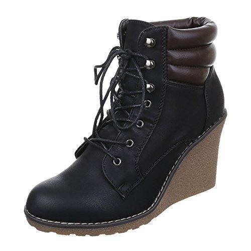 Damen Schuhe, 622-KA-, Plateau Schnürsenkel Keilstiefeletten Stiefeletten Keilabsatz - Wedge Boots, Synthetik in hochwertiger Lederoptik , Schwarz, Gr 39
