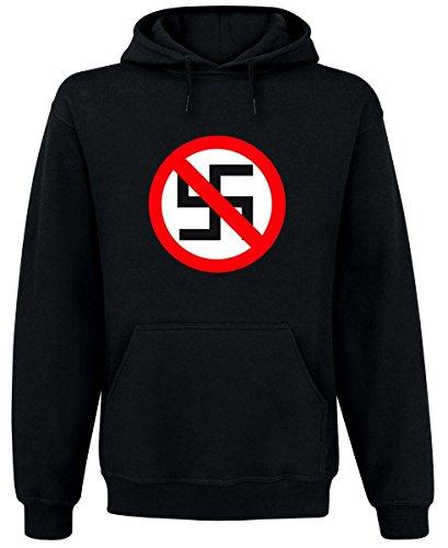 Verbotsschild - Gegen Nazis - Kapuzenpullover, Farbe: Schwarz, Größe: XL