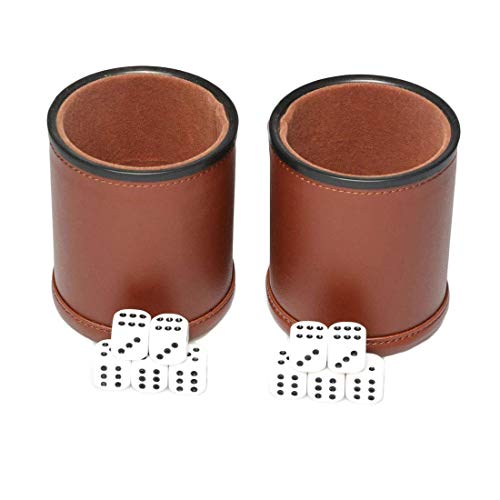 Leder-Würfel-Becher-Set, 2 Stück, Filzfutter, leiser Shaker mit 6 Punkten Würfeln für Farkle Yahtzee Spiele, Braun (Leder-würfel-box)